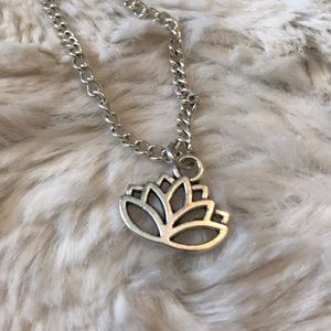 Lotus flower silver necklace